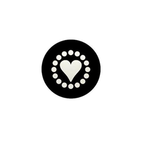 White Circle Heart Mini Button
