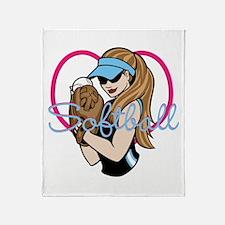 Cute Softball Girl Throw Blanket