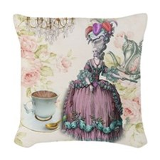 cute marie antoinette Woven Throw Pillow