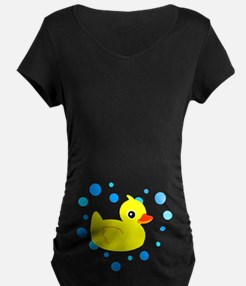 Cute Yellow Rubber Ducky on Water Heart T-Shirt