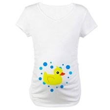 Cute Yellow Rubber Ducky on Water Heart Shirt