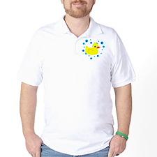 Cute Yellow Rubber Ducky on Water Heart T-Shirt