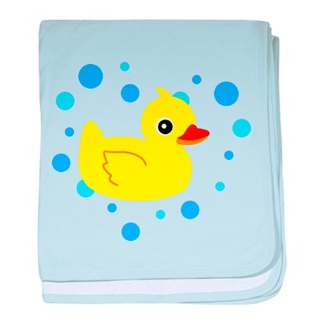 Cute Yellow Rubber Ducky on Water Heart baby blank