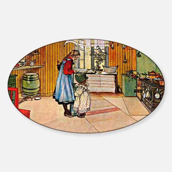 The Kitchen, painting by Carl Larss Sticker (Oval)