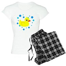 Cute Yellow Rubber Ducky on Water Heart Pajamas