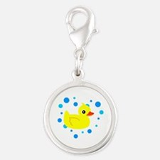 Cute Yellow Rubber Ducky on Water Heart Charms