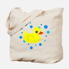 Cute Yellow Rubber Ducky on Water Heart Tote Bag