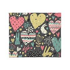 Bunnies and Hearts Throw Blanket