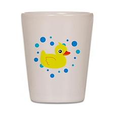 Cute Yellow Rubber Ducky on Water Heart Shot Glass