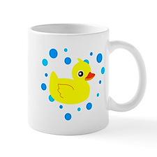Cute Yellow Rubber Ducky on Water Heart Mugs