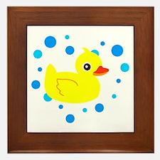 Cute Yellow Rubber Ducky on Water Heart Framed Til
