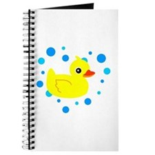 Cute Yellow Rubber Ducky on Water Heart Journal