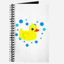 Cute Yellow Rubber Ducky on Water Heart Journal