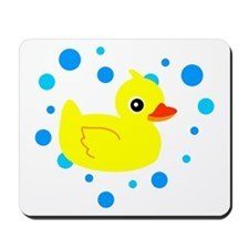 Cute Yellow Rubber Ducky on Water Heart Mousepad