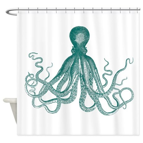 Dark Teal Octopus Shower Curtain By HappyChimp