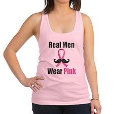 Real Men Wear Pink Mustache Racerback Tank Top