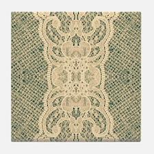 burlap lace fashion Tile Coaster
