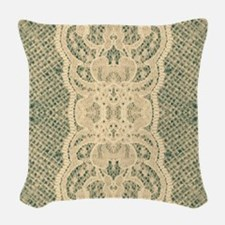 burlap lace fashion Woven Throw Pillow