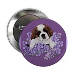 St. Bernard Puppy with flower Button