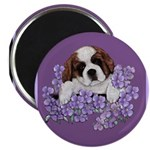 St. Bernard Puppy with flower Magnet