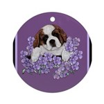 St. Bernard Puppy with flower Ornament (Round)