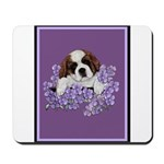 St. Bernard Puppy with flower Mousepad