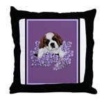St. Bernard Puppy with flower Throw Pillow