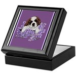 St. Bernard Puppy with flower Keepsake Box