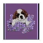 St. Bernard Puppy with flower Tile Coaster