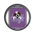 St. Bernard Puppy with flower Wall Clock