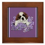 St. Bernard Puppy with flower Framed Tile