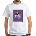 St. Bernard Puppy with flower White T-Shirt