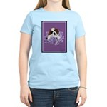 St. Bernard Puppy with flower Women's Pink T-Shirt