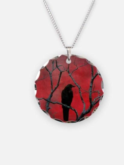 Red Velvet Necklace Circle Charm