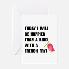 Bird With French Fry Greeting Cards
