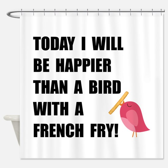 Bird With French Fry Shower Curtain