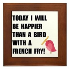 Bird With French Fry Framed Tile