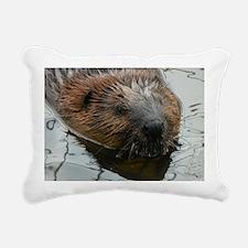 Beaver  swimming  Rectangular Canvas Pillow