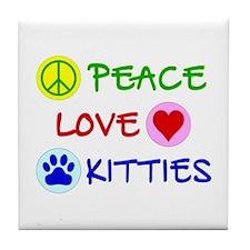 Peace-Love-Kitties Tile Coaster