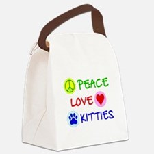 Peace-Love-Kitties Canvas Lunch Bag