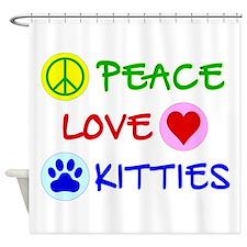 Peace-Love-Kitties Shower Curtain