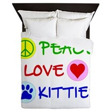 Peace-Love-Kitties Queen Duvet