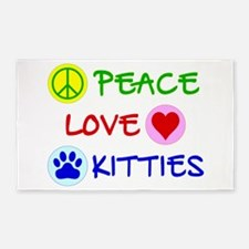 Peace-Love-Kitties 3'x5' Area Rug