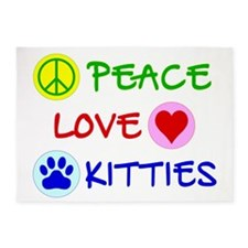 Peace-Love-Kitties 5'x7'Area Rug