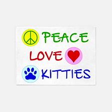 Peace-Love-Kitties 5'x7'Area Rug