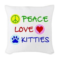 Peace-Love-Kitties Woven Throw Pillow