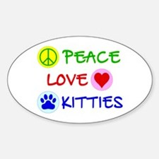 Peace-Love-Kitties Sticker (Oval)