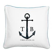 Tybee Island, GA Anchor II Square Canvas Pillow