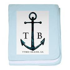 Tybee Island, GA Anchor II baby blanket
