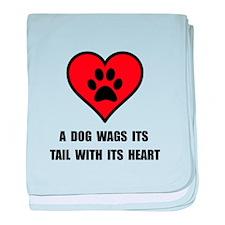 Dog Wag Heart baby blanket